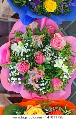 Pink Roses Bouquet Flowers in Wrapping Papper