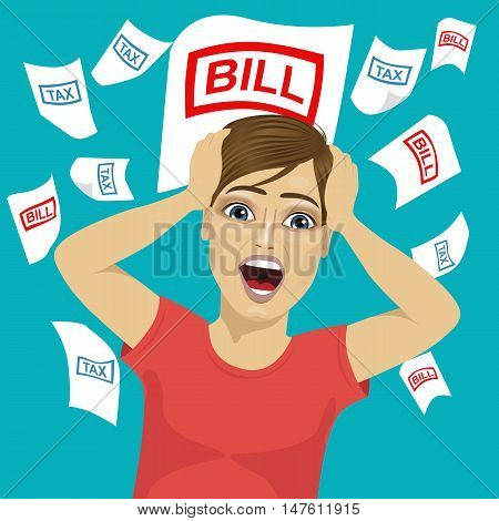 young man shouting grabbed his head with tax and bill papers on blue background