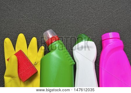 House cleaning product on gray background.Cleaning equipment.