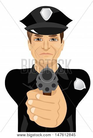 mature policeman holding a revolver gun isolated over white background