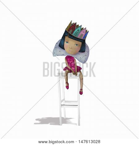 Girl teenager in a princess crown seated on a chair.