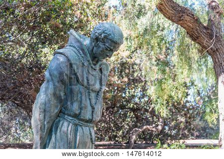 SAN DIEGO, CALIFORNIA - AUGUST 13, 2016: Statue of Father Junipero Serra at the Serra Mission Museum, the former site of a fort and the first European settlement on the Pacific Coast.