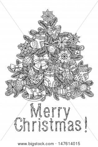 Vector doodle Merry Christmas, lettering Greeting Card design .Vector illustration. Hand drawn line illustration.Sketch for postcard or print or coloring adult anti stress book.Boho zen art style.