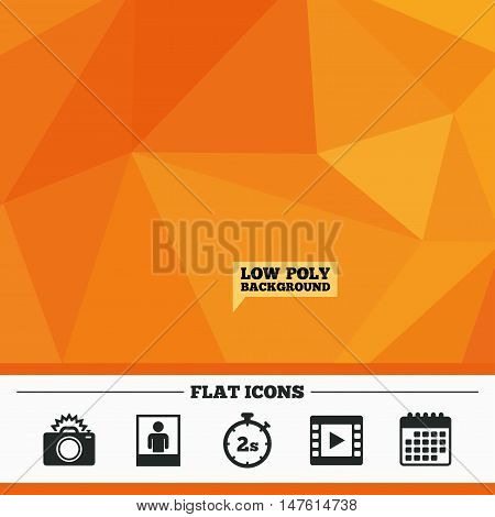 Triangular low poly orange background. Photo camera icon. Flash light and video frame symbols. Stopwatch timer 2 seconds sign. Human portrait photo frame. Calendar flat icon. Vector