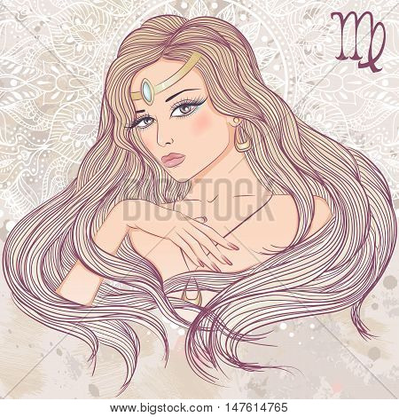 Zodiac. Vector illustration of the astrological sign of Virgo as a portrait beautiful girl with long hair. The illustration on decorative grunge background in retro colors