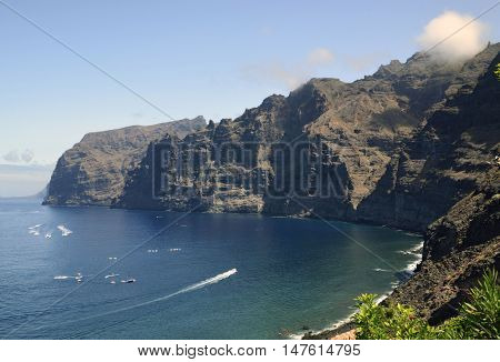 View of volcanic cliffs Los Gigantes on Tenerife, Canary Islands,Spain.