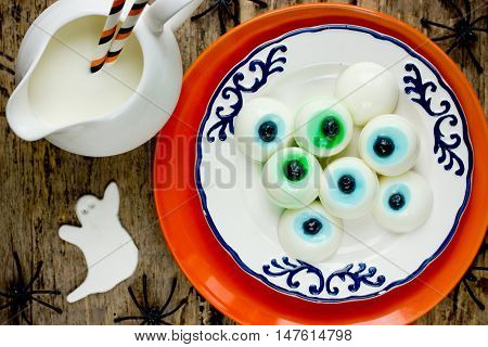 Edible eyeball on Halloween party for kids top view