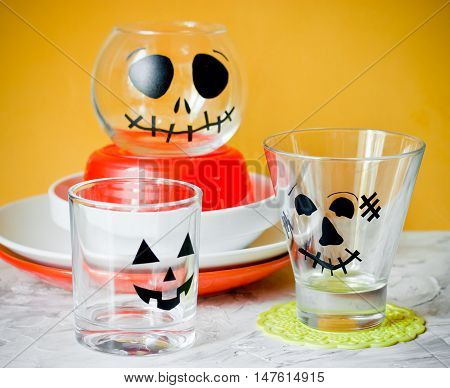Glasses decorated for Halloween party Halloween table setting