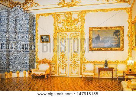 Russia, St. Petersburg - June 22/2013: Palace Of Tsarskoye Selo Received Visitors After Restoration
