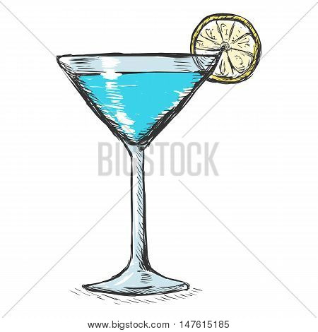Vector Color Sketch Cocktail With Lime