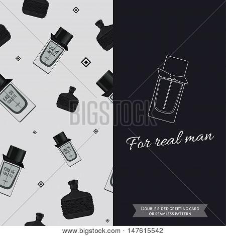 Double sided modern greeting card for man. Seamless pattern. Male fragrance. Eau de toilette. Perfume for men. Vector illustration
