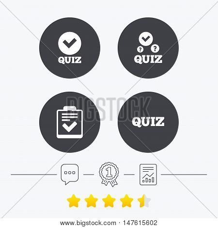 Quiz icons. Checklist with check mark symbol. Survey poll or questionnaire feedback form sign. Chat, award medal and report linear icons. Star vote ranking. Vector