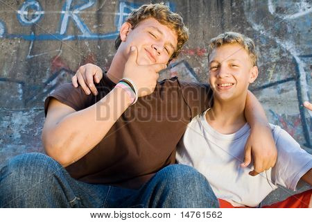 teen boys best friends together
