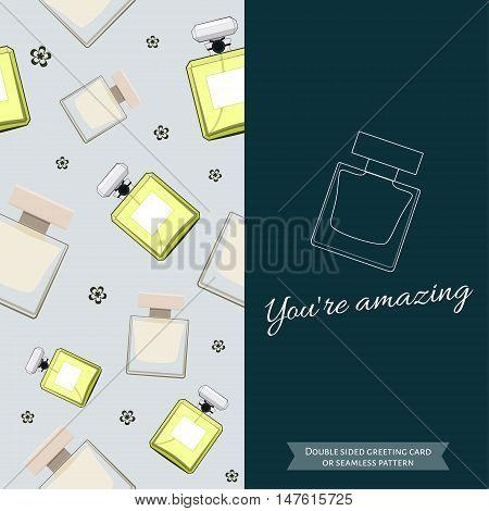 Double sided modern greeting card for fashionable women. Seamless pattern. Women fragrance. Eau de toilette. Perfume for female. Vector illustration