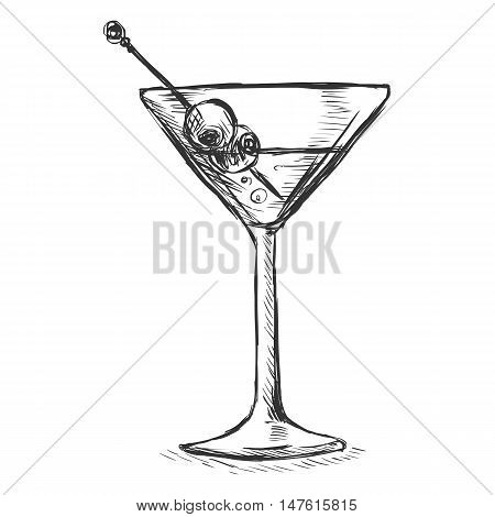 Vector Sketch Martini Glass With Olives