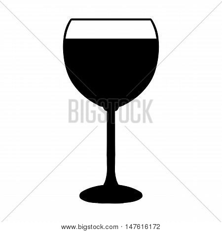 Vector Glass Of Wine. Black And White Illustration.