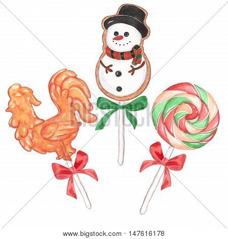 Holiday set of candy on a stick. Watercolor painting. Handmade drawing.
