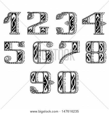 vector set of numbers in the Celtic style