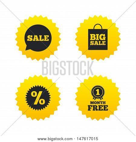 Sale speech bubble icon. Discount star symbol. Big sale shopping bag sign. First month free medal. Yellow stars labels with flat icons. Vector
