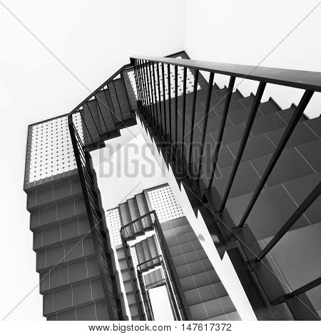 Moscow, Russian Federation, September 15, 2016: Stairs inside the luxury prestige apartment building.