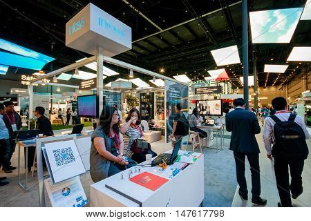 SHANGHAI CHINA - SEPTEMBER 2 2016: Booth of Infosys company at Connect 2016 information technology conference and exhibition in Shanghai China on September 2 2016.