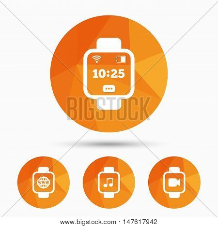 Smart watch icons. Wrist digital time watch symbols. Music, Video, Globe internet and wi-fi signs. Triangular low poly buttons with shadow. Vector