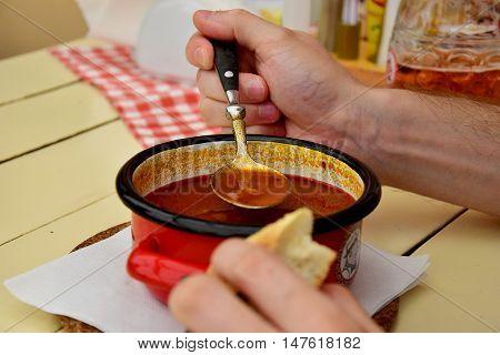 Polish cousine old fashon dishes red pot