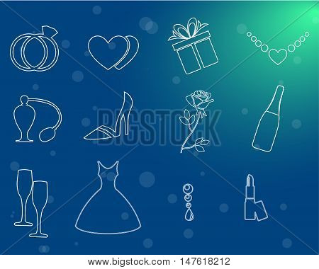 the illustration - set of icons on a theme of wedding.