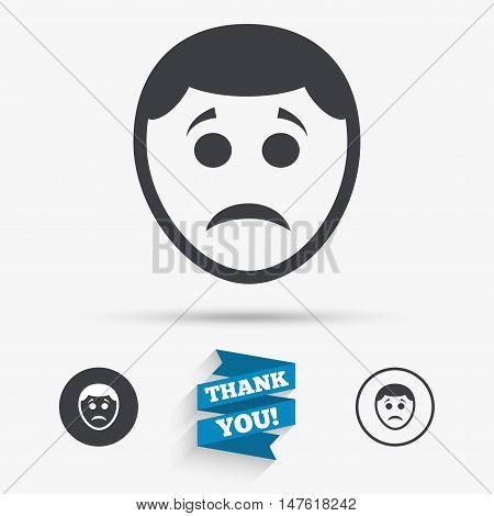 Sad face sign icon. Sadness depression chat symbol. Flat icons. Buttons with icons. Thank you ribbon. Vector