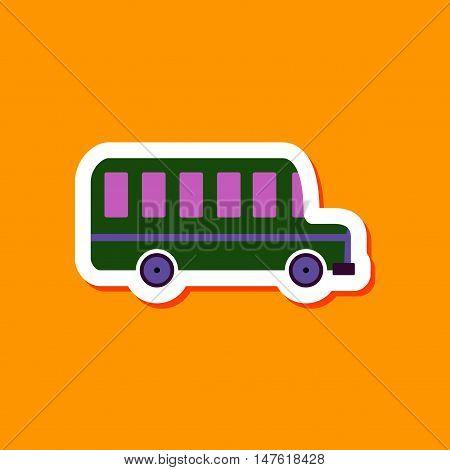 paper sticker on stylish background of bus