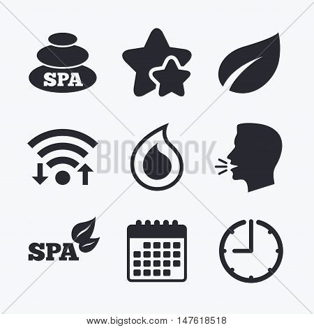 Spa stones icons. Water drop with leaf symbols. Natural tear sign. Wifi internet, favorite stars, calendar and clock. Talking head. Vector