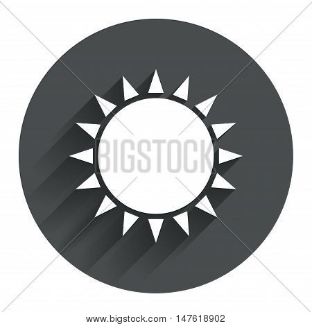 Sun icon. Sunlight summer symbol. Hot weather sign. Circle flat button with shadow. Modern UI website navigation. Vector