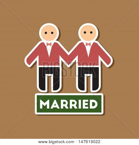paper sticker on stylish background gays newlyweds wedding