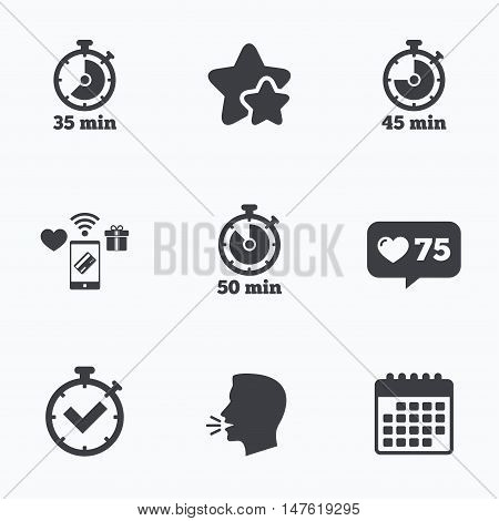 Timer icons. 35, 45 and 50 minutes stopwatch symbols. Check or Tick mark. Flat talking head, calendar icons. Stars, like counter icons. Vector