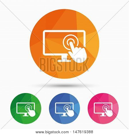 Touch screen monitor sign icon. Hand pointer symbol. Triangular low poly button with flat icon. Vector