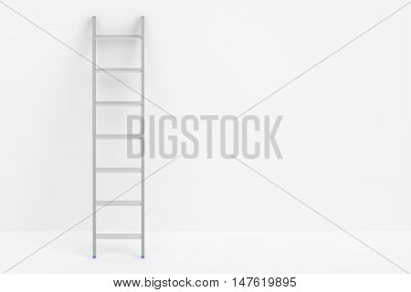 ladder and white wall 3D rendering isolated on white background