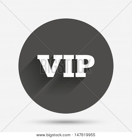 Vip sign icon. Membership symbol. Very important person. Circle flat button with shadow. Vector
