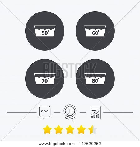 Wash icons. Machine washable at 50, 60, 70 and 80 degrees symbols. Laundry washhouse signs. Chat, award medal and report linear icons. Star vote ranking. Vector