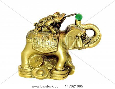 Elephant and Money Toad Gold Figure on a white Background