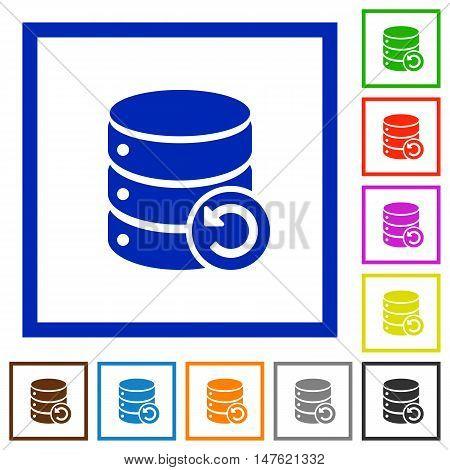 Set of color square framed undo database changes flat icons