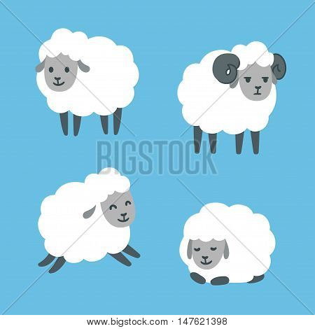 Cute cartoon sheep set. Standing jumping and lying. Male ram with horns. Vector illustration.
