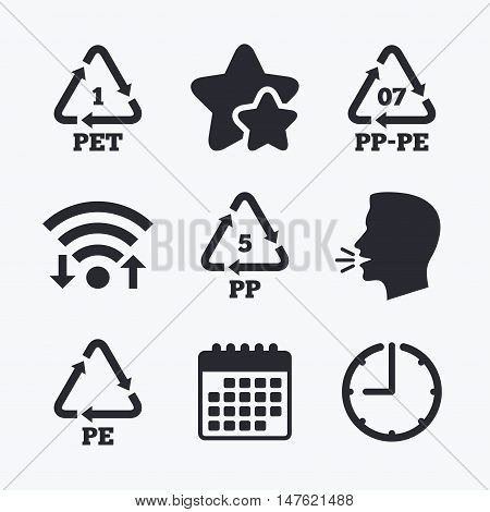 PET 1, PP-pe 07, PP 5 and PE icons. High-density Polyethylene terephthalate sign. Recycling symbol. Wifi internet, favorite stars, calendar and clock. Talking head. Vector