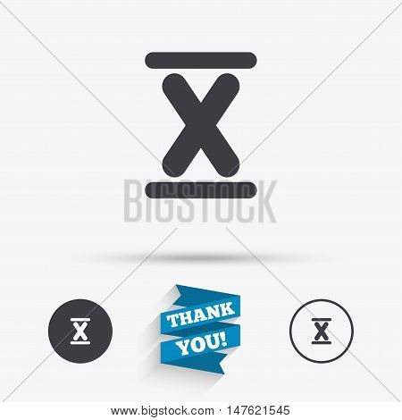 Roman numeral ten sign icon. Roman number ten symbol. Flat icons. Buttons with icons. Thank you ribbon. Vector