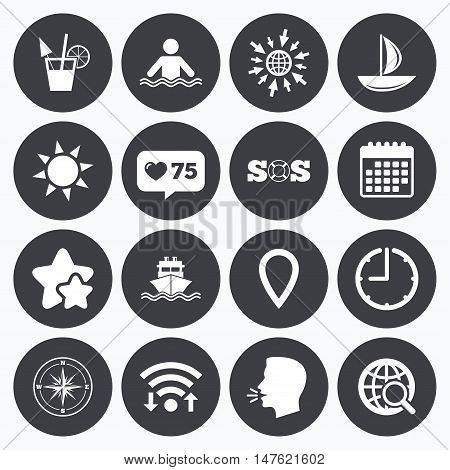 Calendar, wifi and clock symbols. Like counter, stars symbols. Cruise trip, ship and yacht icons. Travel, cocktail and sun signs. Sos, windrose compass and swimming symbols. Talking head, go to web symbols. Vector