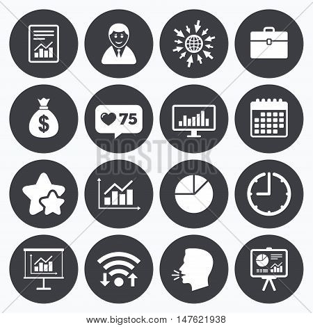 Calendar, wifi and clock symbols. Like counter, stars symbols. Statistics, accounting icons. Charts, presentation and pie chart signs. Analysis, report and business case symbols. Talking head, go to web symbols. Vector