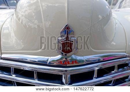 Kharkiv Ukraine - May 22 2016: Close up of Soviet retro car phaeton GAZ-12 (ZIM) manufactured in 1949 is presented at the festival of vintage cars Kharkiv Retro Rally - 2016 in Kharkiv Ukraine on May 22 2016