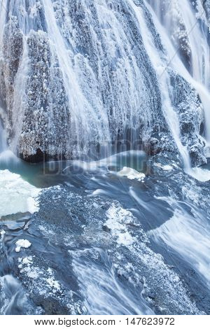 Ice waterfall in winter season Fukuroda Falls Ibaraki prefecture Japan