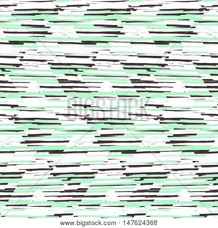 Vector seamless geometric pattern with striped triangle, abstract diagonal shape in pastel mint green color. Hand drawn background with overlap lines in 1980s fashion style. Modern funky textile print