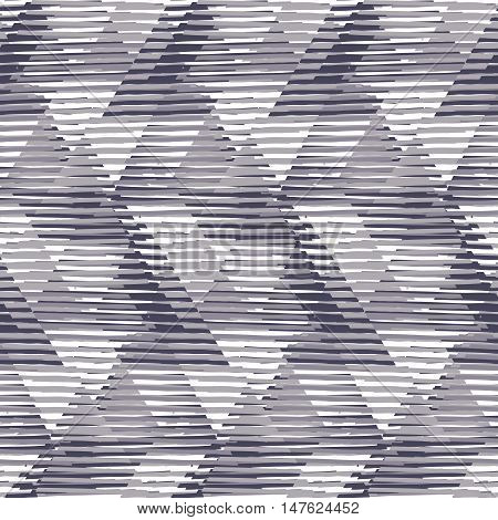Vector seamless geometric pattern with striped triangles, abstract diagonal shapes in black and white. Hand drawn monochrome background with overlap lines in 1980s fashion style. Funky textile print