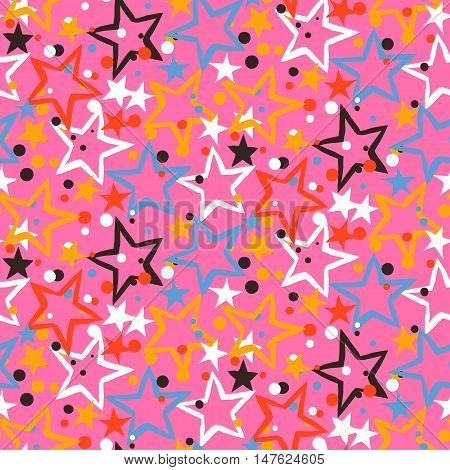 Vector seamless pattern with bright colorful red pink stars, starburst and dots on pink background. Ditsy print with fireworks and twinkle lights. Concept of birthday celebration and holiday spirit